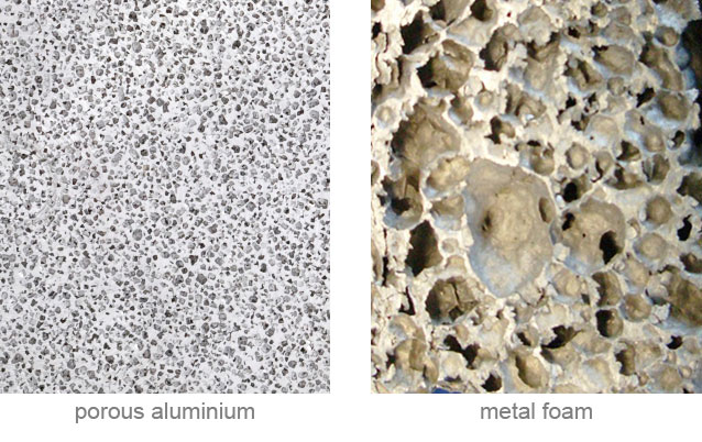 cellular metallic materials. porous metal. porous aluminium versus metal foam. structure of the porous metals