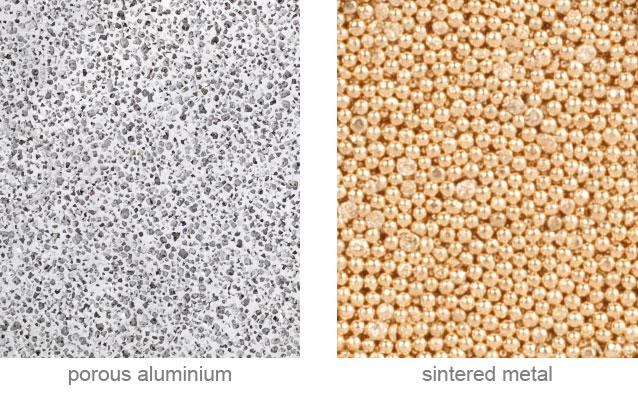 cellular metallic materials. porous metal. porous aluminium versus sintered metal. structure of the porous metals